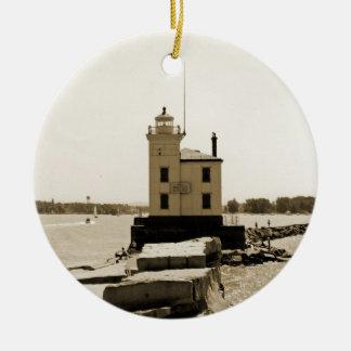 Der Eriesee-Leuchtturm Keramik Ornament