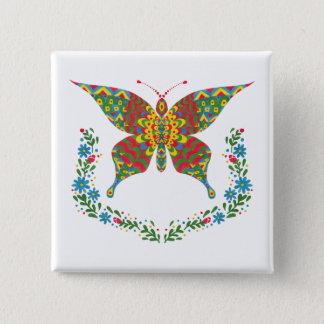 Der extravagante Schmetterling Quadratischer Button 5,1 Cm