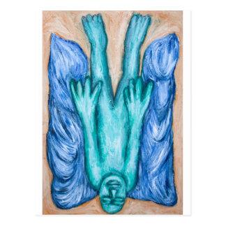 Der Fall von Ikarus (naiver Expressionismus) Postkarte