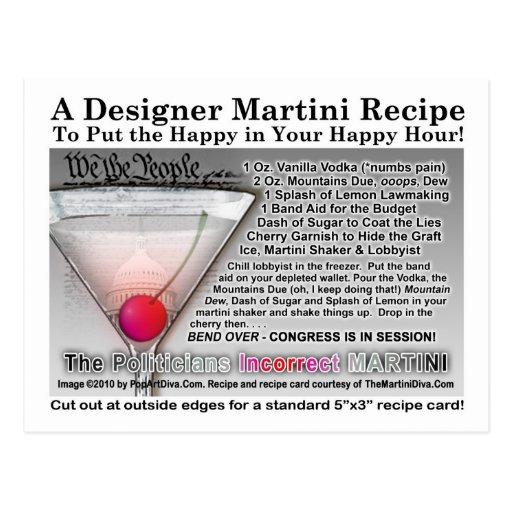 Der falsche Witz Martini RecipePostcard des Postkarten