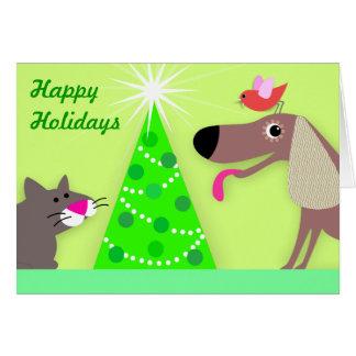 Der Feiertags-Grüße des Haustier-Modells Karte