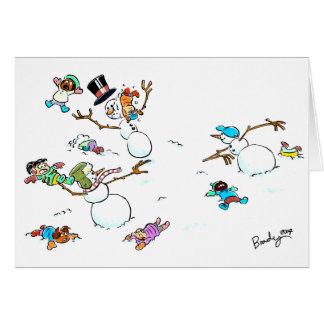 Der Feiertags-Kampf-Gruß-Karte des Schneemanns Karte