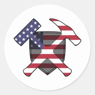 Der Felsen-Hammer-Schild-amerikanische Flagge der Runder Aufkleber