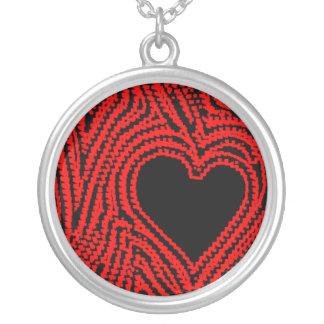 Der Fingerabdruck der Liebe in der schwarzen und r Halskette Mit Rundem Anhänger
