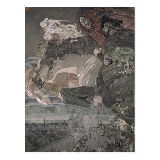 Der Flug von Faust und von Mephistopheles, 1896 Postkarte