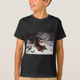 Der Fox im Schnee durch Gustave Courbet T-Shirt