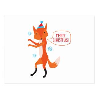 der Fox sagt frohe Weihnachten Postkarte