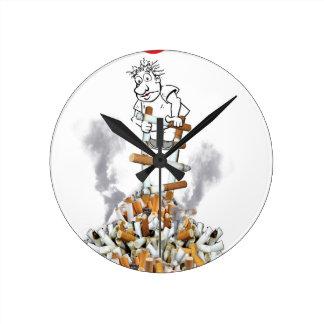 Der freie Bruch - stoppen Sie zu rauchen Runde Wanduhr
