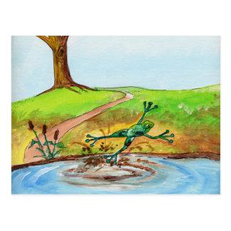 Der Frosch springend durch den Schlamm Postkarte