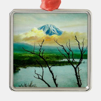 Der Fujisan 富士山 durch den Kiefern-Vintagen Japaner Silbernes Ornament