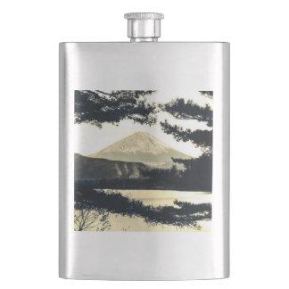 Der Fujisan durch den Kiefern Vintagen 富士山 Japaner Flachmann