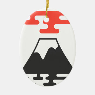 Der Fujisan Ovales Keramik Ornament