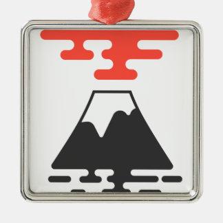Der Fujisan Quadratisches Silberfarbenes Ornament