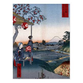 Der Fujisan sah von ein Teehaus C. 1800s Japan an Postkarte