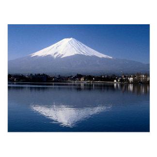 Der Fujisan und Reflexion im See Kawaguchi, Japan Postkarte