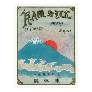 Der Fujisan und Vintager japanischer Silk Postkarte