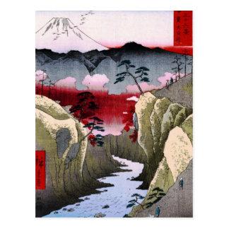 Der Fujisan und Vögel in Japan circa 1800s Postkarte