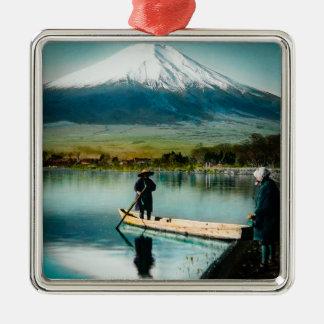 Der Fujisan von SeeYamanaka 富士 Vintag Quadratisches Silberfarbenes Ornament