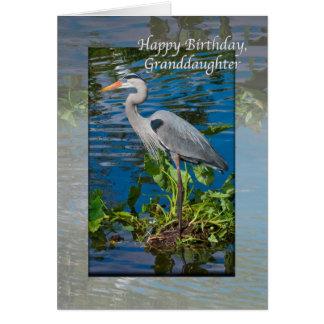 Der Geburtstag der Enkelin mit Graureiher Karte