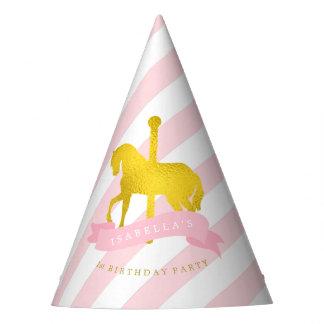 Der Geburtstag des rosa Karussell-Pferdemädchens Partyhütchen