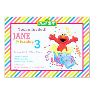 Der Geburtstag Elmo Mädchens 12,7 X 17,8 Cm Einladungskarte
