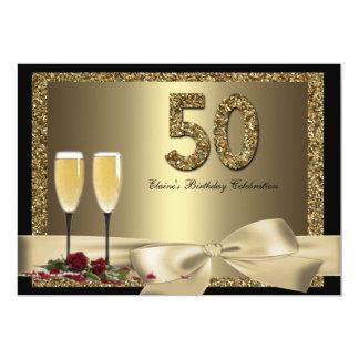Der Geburtstag schwarzer Frau Goldchampagne 50. 12,7 X 17,8 Cm Einladungskarte