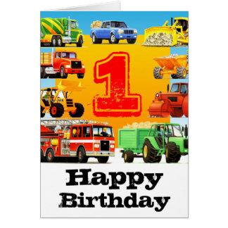 Der Geburtstags-Bau-LKW des Babys 1. Karte
