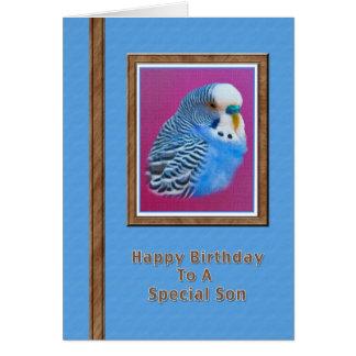 Der Geburtstags-Karte des Sohns mit blauem Karte