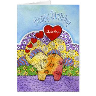 Der Geburtstags-Karte des wunderliches Elefant-Kin