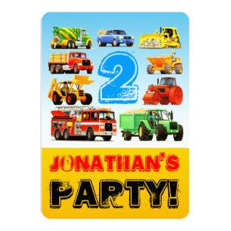 Der Geburtstags-LKW-Fahrzeug-Party des Jungen 2. Karte
