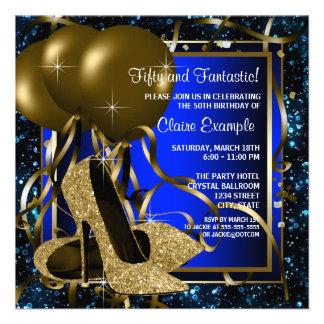 Der Geburtstags-Party Blau-und Goldder hohen Einladungen