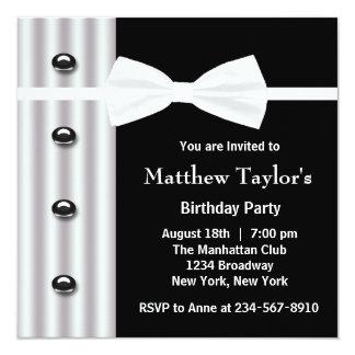 Der Geburtstags-Party der schwarzen Quadratische 13,3 Cm Einladungskarte