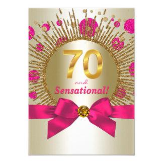 Der Geburtstags-Party-Fuchsien-Gold der Frau 70. Karte