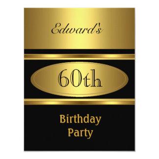 Der Geburtstags-Party-Goldschwarzes der Männer 60. 10,8 X 14 Cm Einladungskarte
