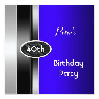 Der Geburtstags-Party-Mann der silbernen blauen Quadratische 13,3 Cm Einladungskarte