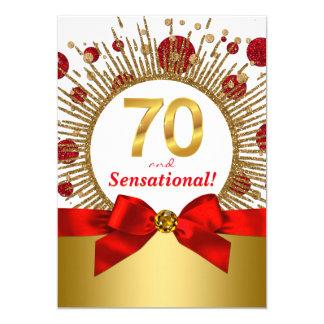 Der Geburtstags-Party-Rot und Gold der Frau 70. Karte