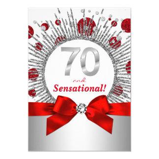 Der Geburtstags-Party-Rot und Silber der Frau 70. Karte