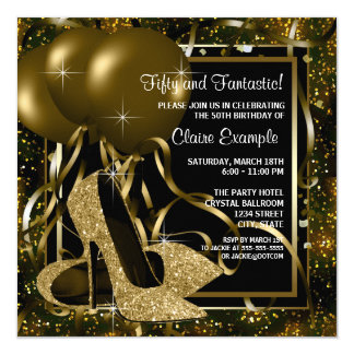 Der Geburtstags-Party schwarzes Goldder hohen Karte