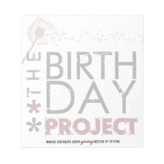 Der Geburtstags-Projekt-große Notizblock