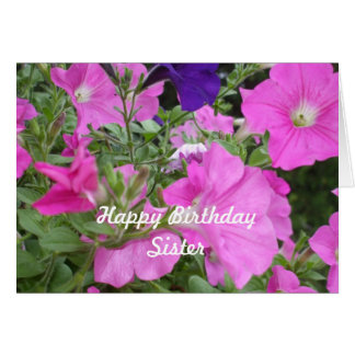 Der Geburtstags-Rosa-Petunien der Schwester Karte