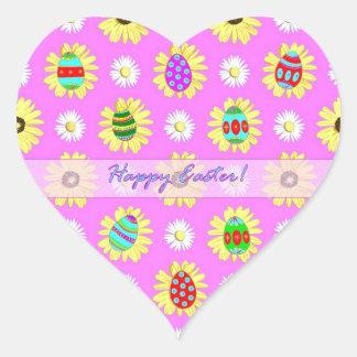 Der gefärbte Ostern-Herz-Aufkleber Eggs Herz-Aufkleber