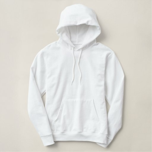 White Embroidered Ladies Pullover Hoodie