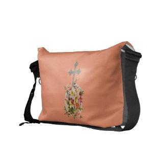 Der Glauben-Blumen-Kreuz nie Bote-Taschen-w/Pink Kuriertasche