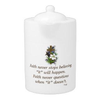 Der Glauben-Blumen-Kreuz nie Teekanne-w/Blue