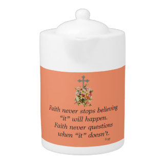 Der Glauben-Blumen-Kreuz nie Teekanne-w/Pink