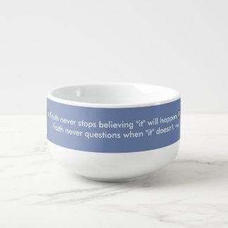 Der Glauben-Kreuz nie Suppen-Tassen-w/Blue Große Suppentasse