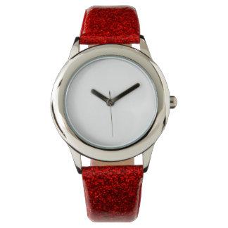 Der Glitter-Bügel-Uhr des Kindes rote Uhr