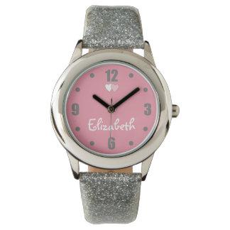 Der Glitter-Bügel-Uhr-Rosa des Kindes silbernes Uhr