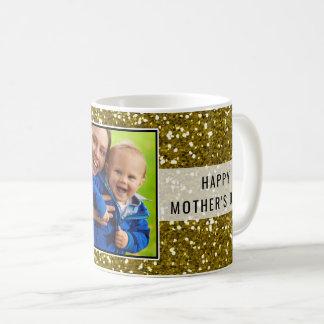 Der Glittery Tag der GoldGlitzer-Foto-Mutter Kaffeetasse