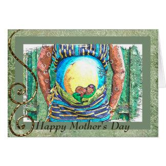 Der glückliche Tag der Mutter für erwartungsvollen Grußkarte